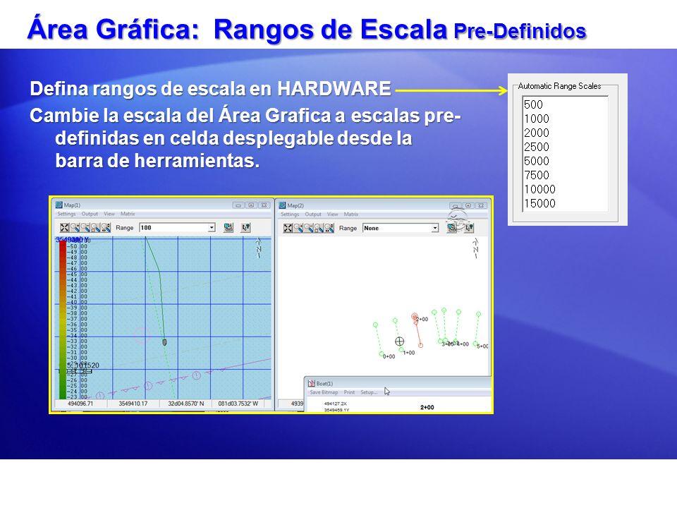 Área Gráfica: Rangos de Escala Pre-Definidos Defina rangos de escala en HARDWARE Cambie la escala del Área Grafica a escalas pre- definidas en celda d