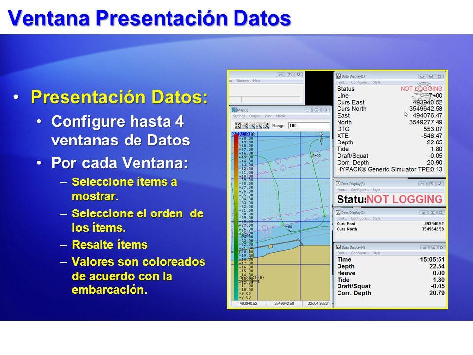 Ventana Presentación Datos Presentación Datos:Presentación Datos: Configure hasta 4 ventanas de DatosConfigure hasta 4 ventanas de Datos Por cada Vent