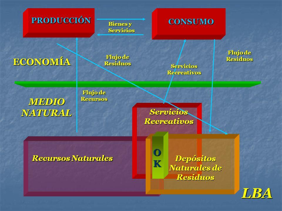 PRODUCCIÓNCONSUMO ECONOMÍA MEDIO NATURAL Recursos Naturales Depósitos Naturales de Residuos Bienes y Servicios Flujo de Recursos Flujo de Residuos Ser