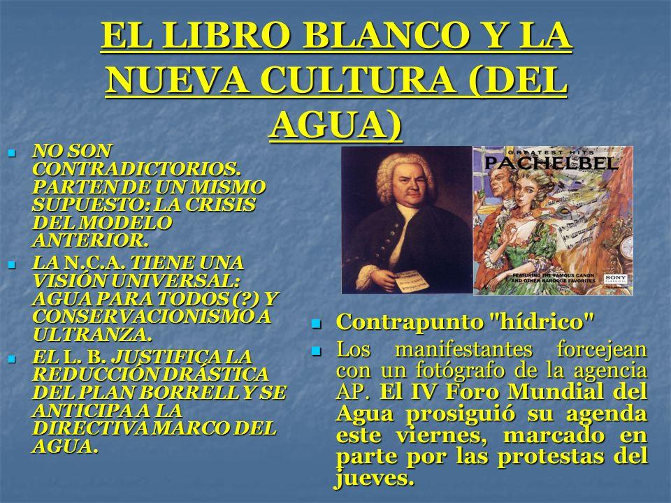 EL LIBRO BLANCO Y LA NUEVA CULTURA (DEL AGUA) NO SON CONTRADICTORIOS. PARTEN DE UN MISMO SUPUESTO: LA CRISIS DEL MODELO ANTERIOR. NO SON CONTRADICTORI