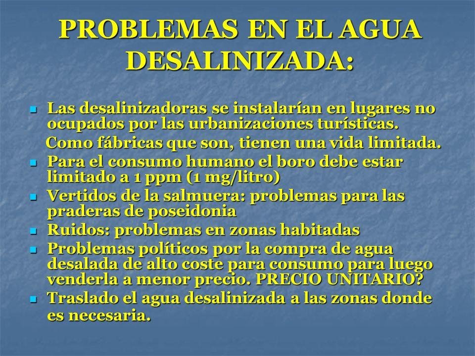 PROBLEMAS EN EL AGUA DESALINIZADA: Las desalinizadoras se instalarían en lugares no ocupados por las urbanizaciones turísticas. Las desalinizadoras se
