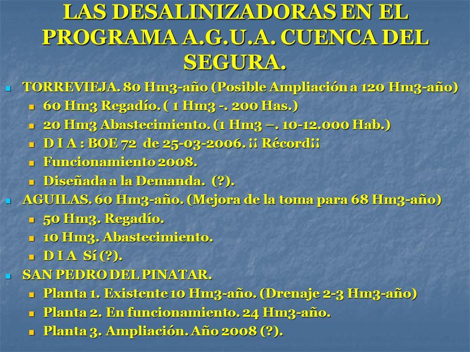 LAS DESALINIZADORAS EN EL PROGRAMA A.G.U.A. CUENCA DEL SEGURA. TORREVIEJA. 80 Hm3-año (Posible Ampliación a 120 Hm3-año) TORREVIEJA. 80 Hm3-año (Posib