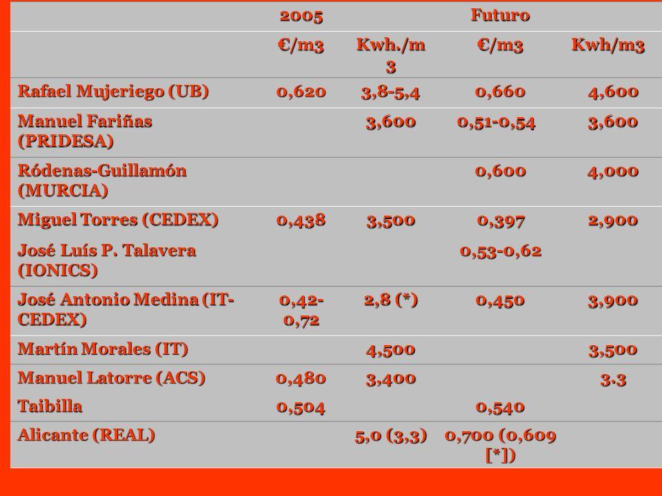 2005 Futuro /m3 Kwh./m 3 /m3Kwh/m3 Rafael Mujeriego (UB) 0,6203,8-5,40,6604,600 Manuel Fariñas (PRIDESA) 3,600 0,51-0,54 0,51-0,54 3,600 Ródenas-Guill