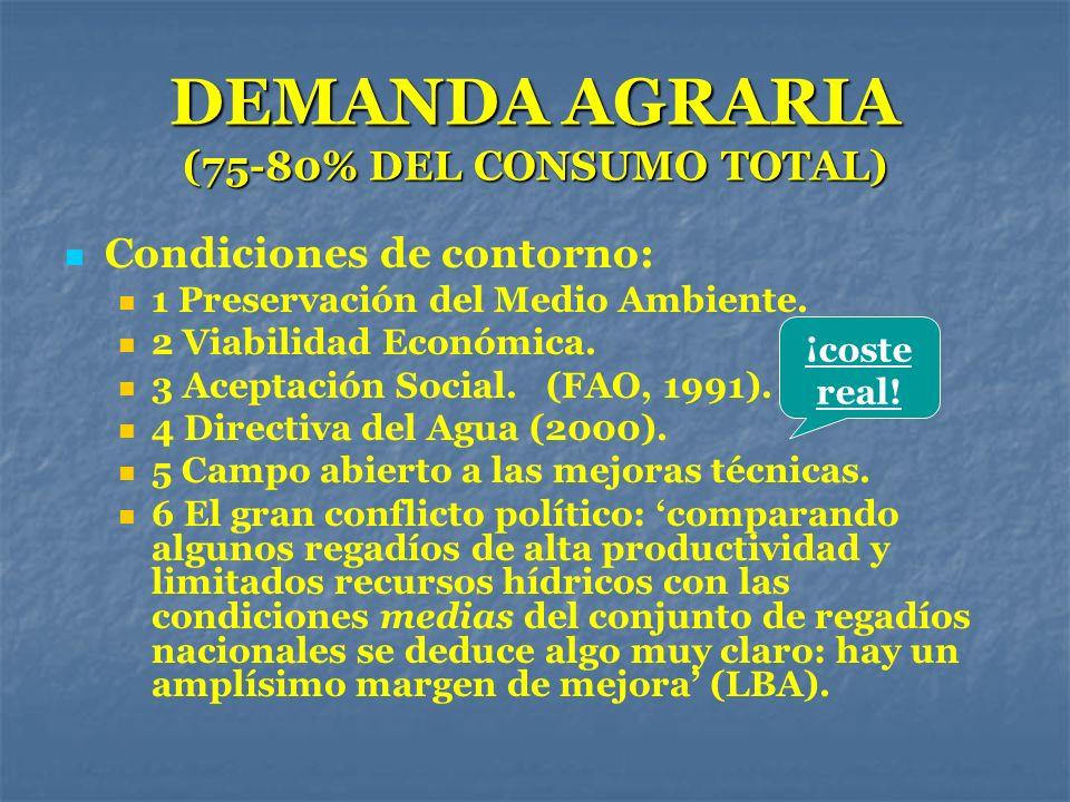 DEMANDA AGRARIA (75-80% DEL CONSUMO TOTAL) Condiciones de contorno: 1 Preservación del Medio Ambiente. 2 Viabilidad Económica. 3 Aceptación Social. (F
