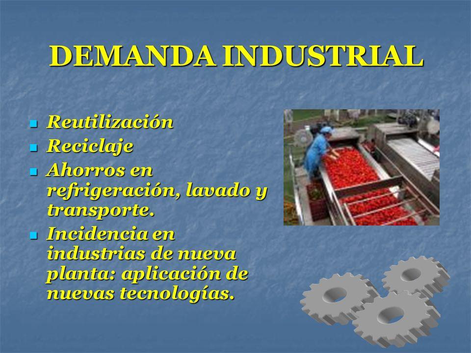 DEMANDA INDUSTRIAL Reutilización Reutilización Reciclaje Reciclaje Ahorros en refrigeración, lavado y transporte. Ahorros en refrigeración, lavado y t