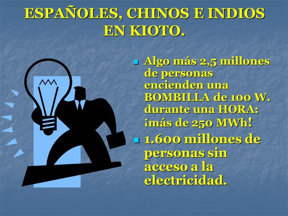 ESPAÑOLES, CHINOS E INDIOS EN KIOTO. Algo más 2,5 millones de personas encienden una BOMBILLA de 100 W. durante una HORA: ¡más de 250 MWh ! Algo más 2