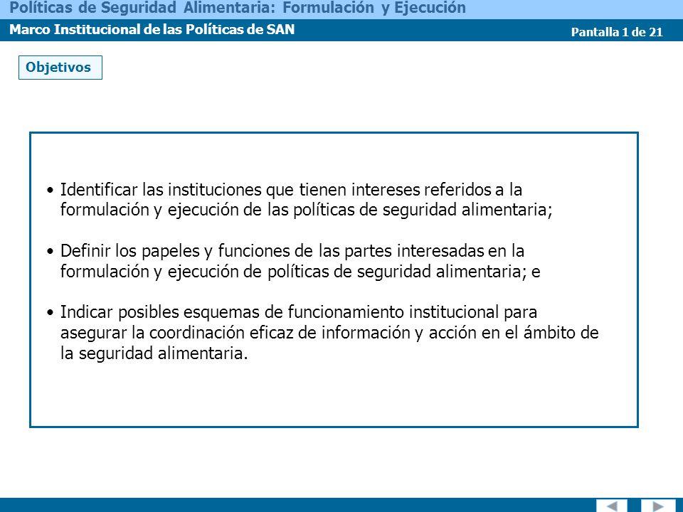 Pantalla 1 de 21 Políticas de Seguridad Alimentaria: Formulación y Ejecución Marco Institucional de las Políticas de SAN Identificar las instituciones