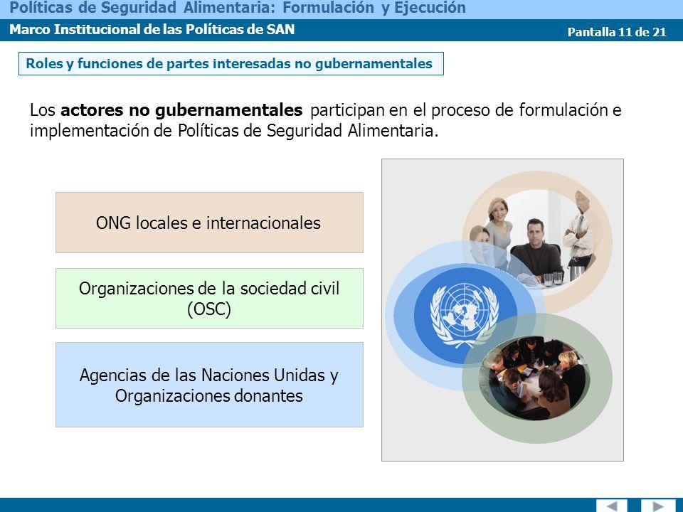 Pantalla 11 de 21 Políticas de Seguridad Alimentaria: Formulación y Ejecución Marco Institucional de las Políticas de SAN Roles y funciones de partes
