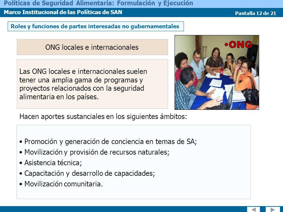 Pantalla 12 de 21 Políticas de Seguridad Alimentaria: Formulación y Ejecución Marco Institucional de las Políticas de SAN ONG locales e internacionale