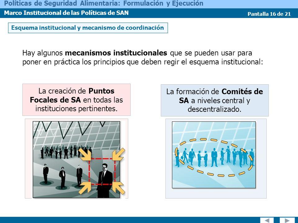 Pantalla 16 de 21 Políticas de Seguridad Alimentaria: Formulación y Ejecución Marco Institucional de las Políticas de SAN Hay algunos mecanismos insti