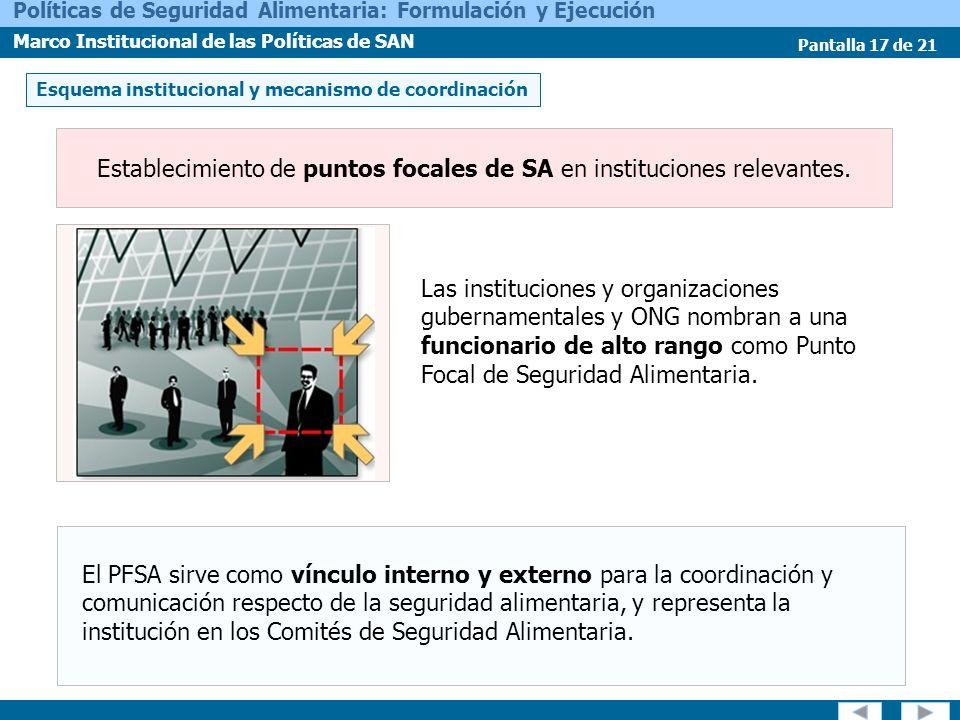 Pantalla 17 de 21 Políticas de Seguridad Alimentaria: Formulación y Ejecución Marco Institucional de las Políticas de SAN Establecimiento de puntos fo
