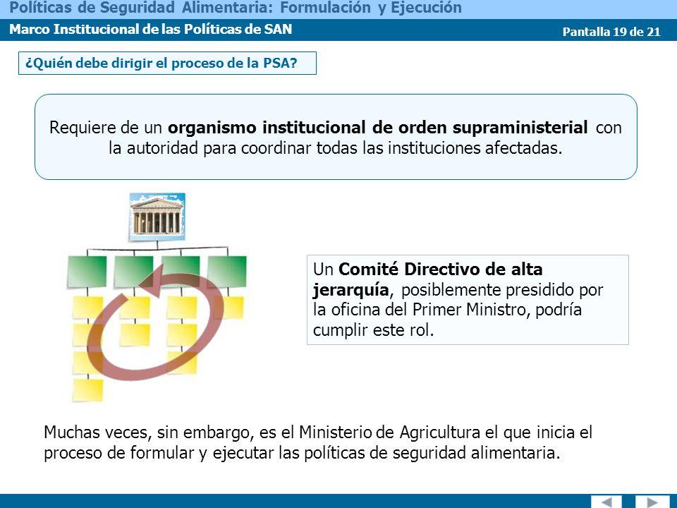 Pantalla 19 de 21 Políticas de Seguridad Alimentaria: Formulación y Ejecución Marco Institucional de las Políticas de SAN ¿Quién debe dirigir el proce