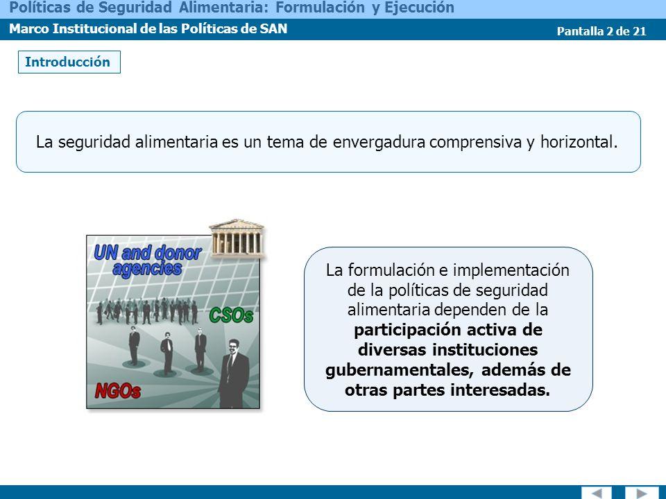 Pantalla 2 de 21 Políticas de Seguridad Alimentaria: Formulación y Ejecución Marco Institucional de las Políticas de SAN La formulación e implementaci