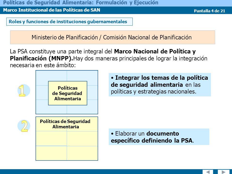 Pantalla 4 de 21 Políticas de Seguridad Alimentaria: Formulación y Ejecución Marco Institucional de las Políticas de SAN Integrar los temas de la polí