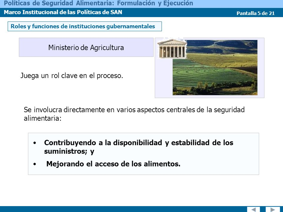 Pantalla 5 de 21 Políticas de Seguridad Alimentaria: Formulación y Ejecución Marco Institucional de las Políticas de SAN Juega un rol clave en el proc