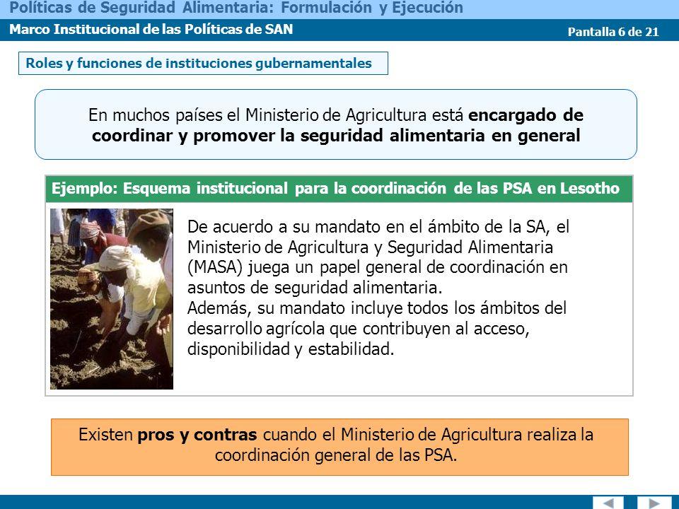 Pantalla 6 de 21 Políticas de Seguridad Alimentaria: Formulación y Ejecución Marco Institucional de las Políticas de SAN Ejemplo: Esquema instituciona