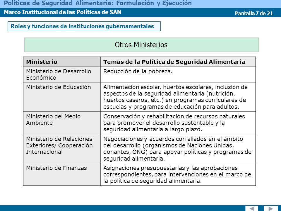 Pantalla 7 de 21 Políticas de Seguridad Alimentaria: Formulación y Ejecución Marco Institucional de las Políticas de SAN Otros Ministerios MinisterioT