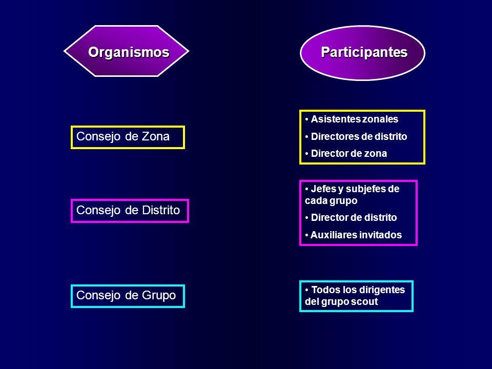 OrganismosParticipantes Consejo de Grupo Consejo de Distrito Consejo de Zona Asistentes zonales Directores de distrito Director de zona Jefes y subjef