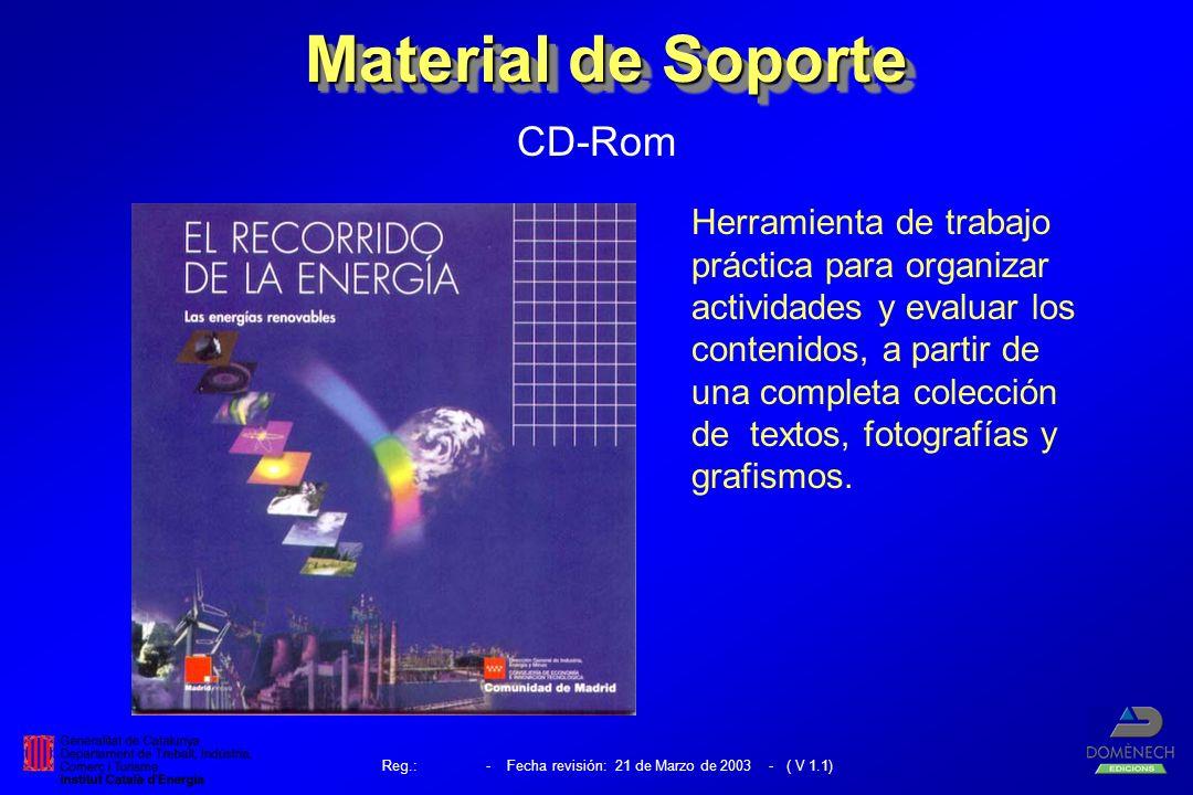 Material de Soporte CD-Rom Herramienta de trabajo práctica para organizar actividades y evaluar los contenidos, a partir de una completa colección de textos, fotografías y grafismos.