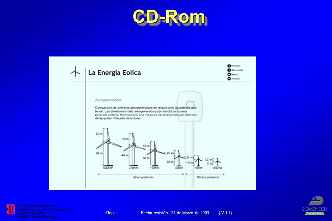 Reg.: - Fecha revisión: 21 de Marzo de 2003 - ( V 1.1) CD-RomCD-Rom