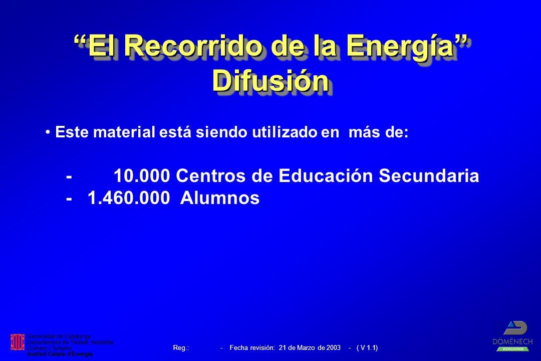 Este material está siendo utilizado en más de: - 10.000 Centros de Educación Secundaria - 1.460.000 Alumnos El Recorrido de la Energía Difusión Difusión