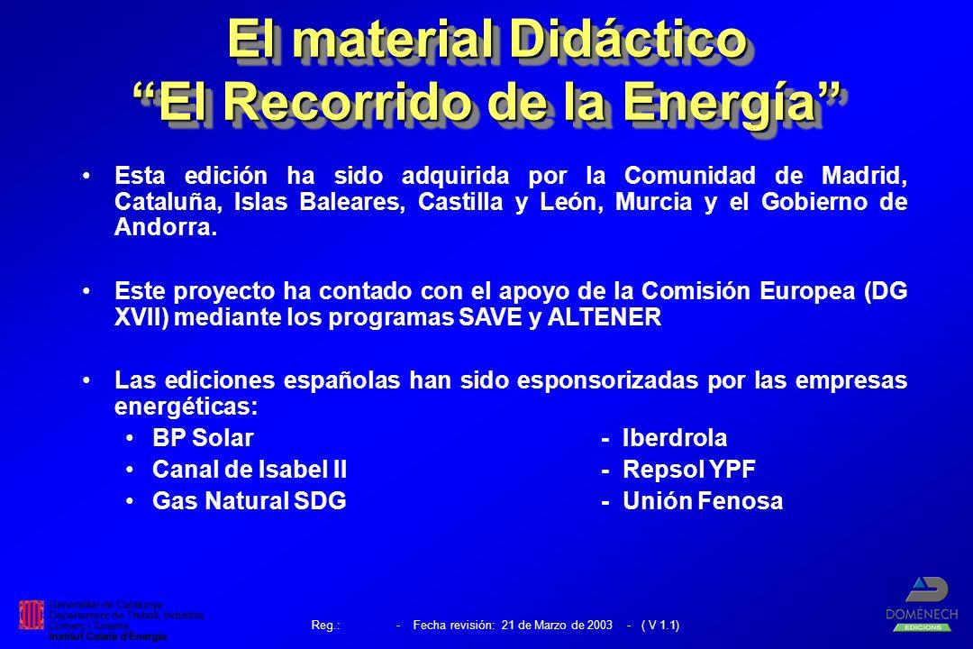 Reg.: - Fecha revisión: 21 de Marzo de 2003 - ( V 1.1) El material Didáctico El Recorrido de la Energía Esta edición ha sido adquirida por la Comunidad de Madrid, Cataluña, Islas Baleares, Castilla y León, Murcia y el Gobierno de Andorra.