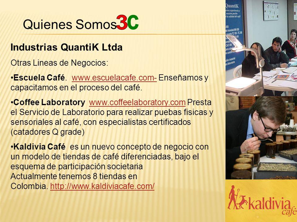 Quienes Somos Industrias QuantiK Ltda Otras Lineas de Negocios: Escuela Café. www.escuelacafe.com- Enseñamos y capacitamos en el proceso del café.www.