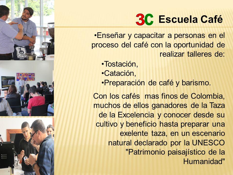 Escuela Café Enseñar y capacitar a personas en el proceso del café con la oportunidad de realizar talleres de: Tostación, Catación, Preparación de caf