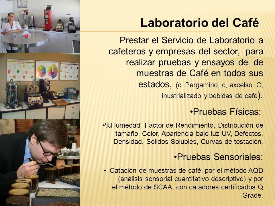 Laboratorio del Café Prestar el Servicio de Laboratorio a cafeteros y empresas del sector, para realizar pruebas y ensayos de de muestras de Café en t