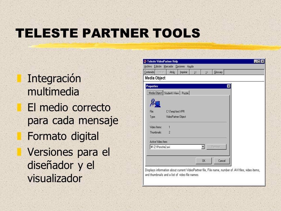 TELESTE PARTNER TOOLS zIntegración multimedia zEl medio correcto para cada mensaje zFormato digital zVersiones para el diseñador y el visualizador
