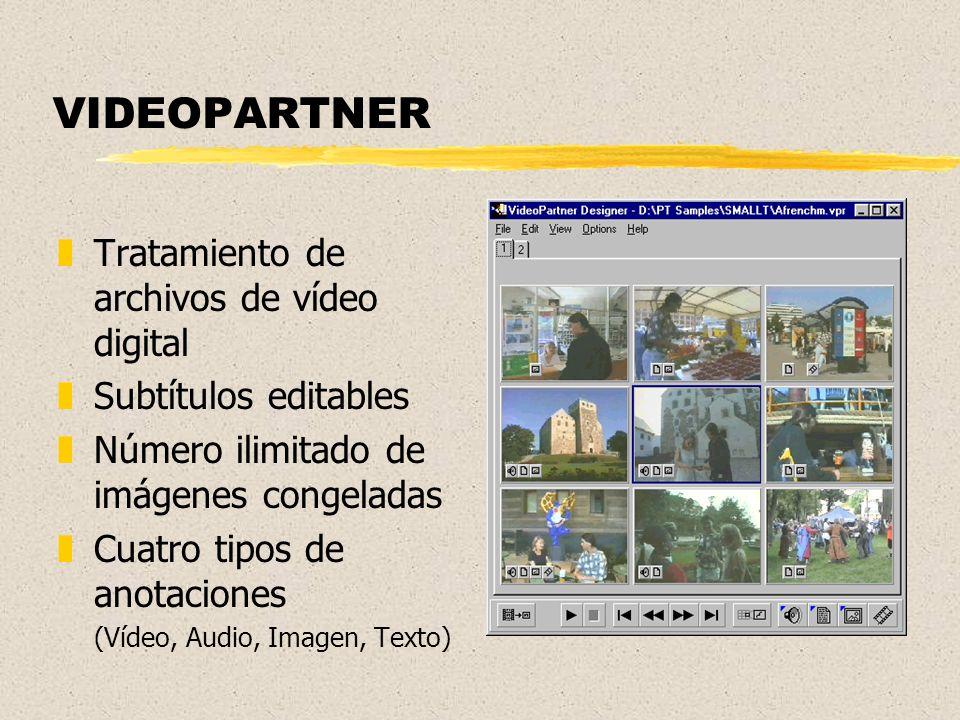VIDEOPARTNER zTratamiento de archivos de vídeo digital zSubtítulos editables zNúmero ilimitado de imágenes congeladas zCuatro tipos de anotaciones (Vídeo, Audio, Imagen, Texto)