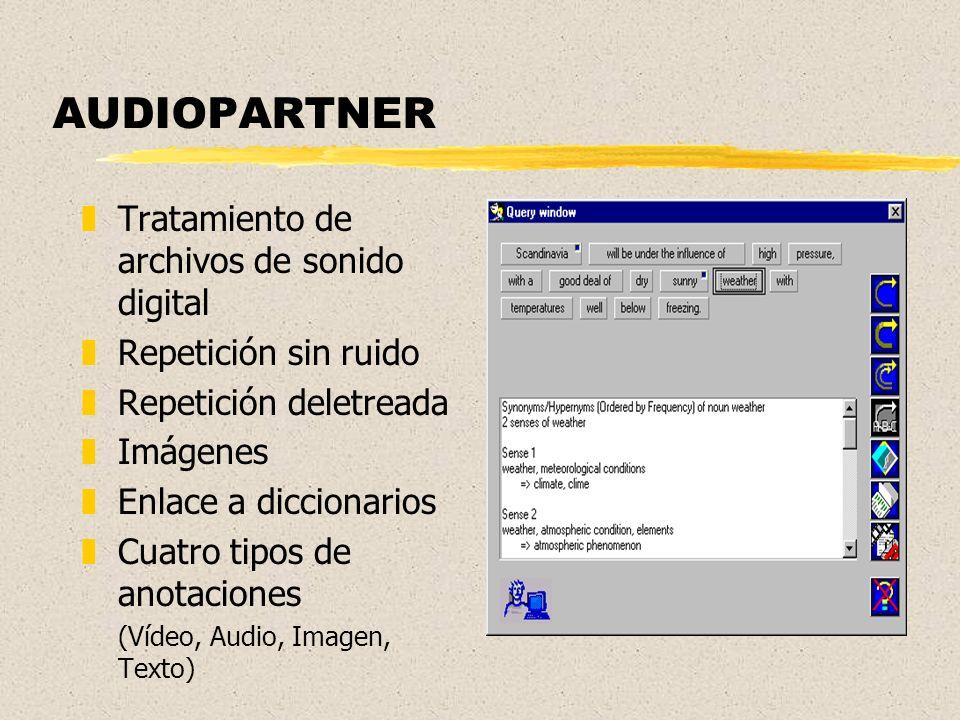 AUDIOPARTNER zTratamiento de archivos de sonido digital zRepetición sin ruido zRepetición deletreada zImágenes zEnlace a diccionarios zCuatro tipos de anotaciones (Vídeo, Audio, Imagen, Texto)