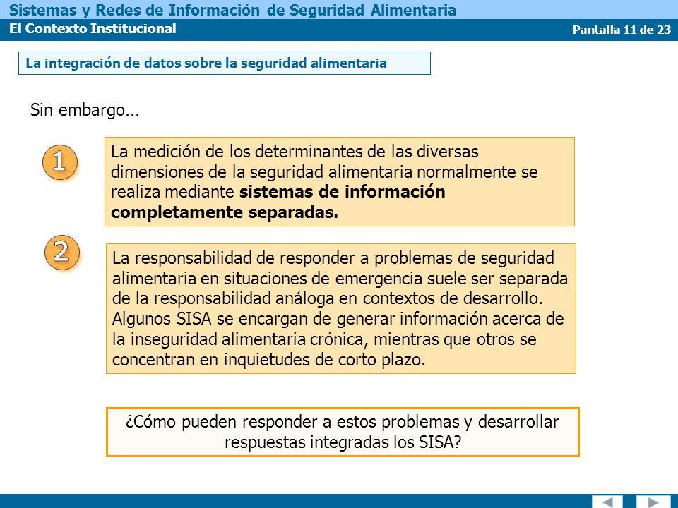 Pantalla 11 de 23 Sistemas y Redes de Información de Seguridad Alimentaria El Contexto Institucional Sin embargo...