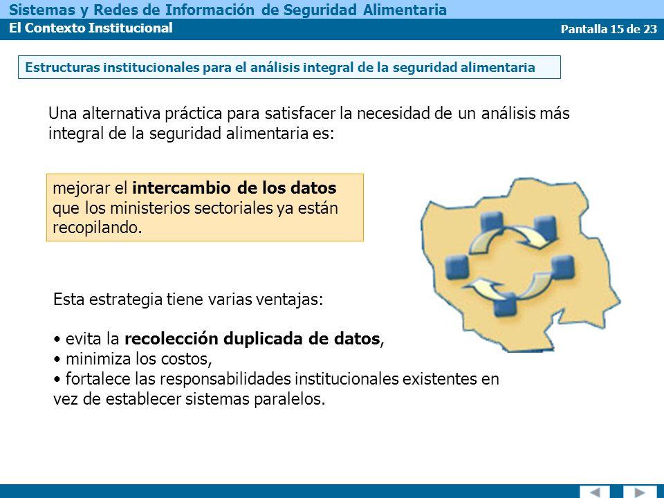 Pantalla 15 de 23 Sistemas y Redes de Información de Seguridad Alimentaria El Contexto Institucional mejorar el intercambio de los datos que los ministerios sectoriales ya están recopilando.