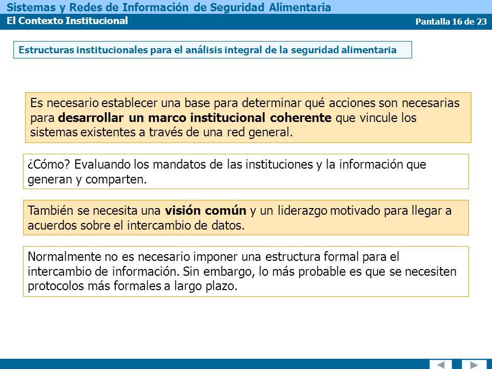 Pantalla 16 de 23 Sistemas y Redes de Información de Seguridad Alimentaria El Contexto Institucional También se necesita una visión común y un liderazgo motivado para llegar a acuerdos sobre el intercambio de datos.