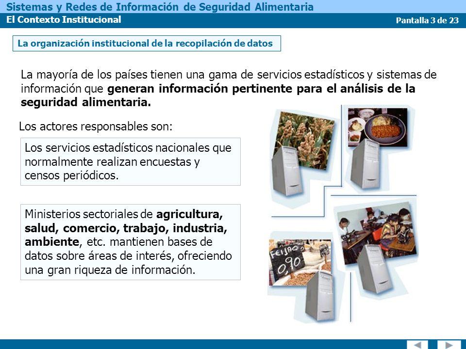Pantalla 14 de 23 Sistemas y Redes de Información de Seguridad Alimentaria El Contexto Institucional Las estructuras independientes tienen un par de desventajas mayores: Estos sistemas frecuentemente son completamente independientes de las estructuras nacionales.