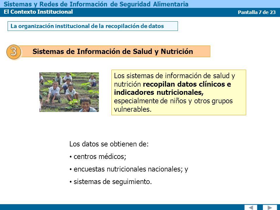 Pantalla 7 de 23 Sistemas y Redes de Información de Seguridad Alimentaria El Contexto Institucional Los sistemas de información de salud y nutrición recopilan datos clínicos e indicadores nutricionales, especialmente de niños y otros grupos vulnerables.
