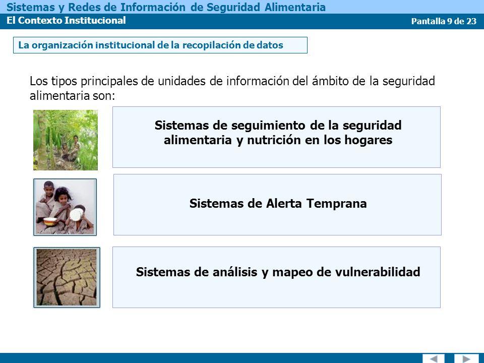 Pantalla 10 de 23 Sistemas y Redes de Información de Seguridad Alimentaria El Contexto Institucional La integración de datos sobre la seguridad alimentaria La seguridad alimentaria es un fenómeno complejo con una gama de posibles causas.