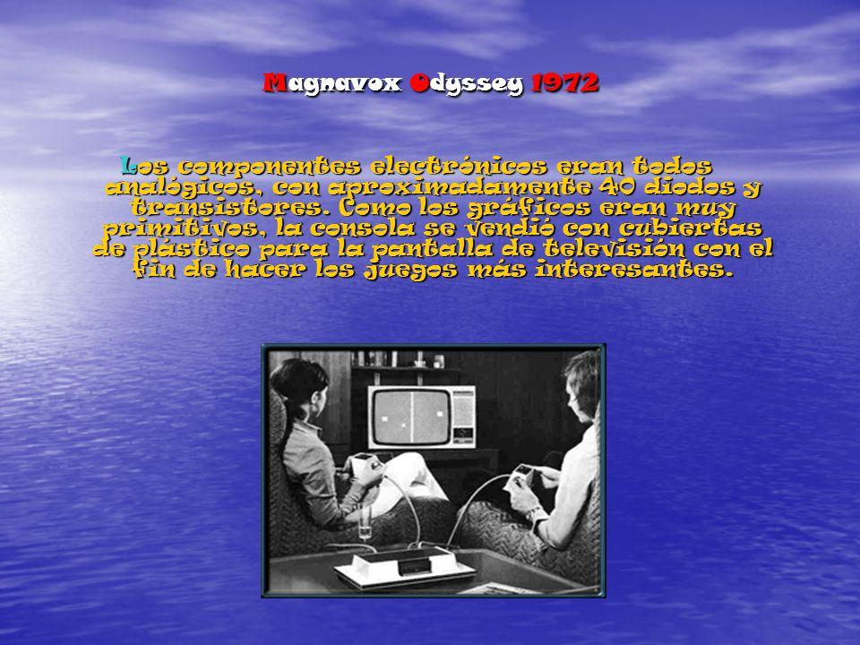 Magnavox Odyssey 1972 Los componentes electrónicos eran todos analógicos, con aproximadamente 40 diodos y transistores.