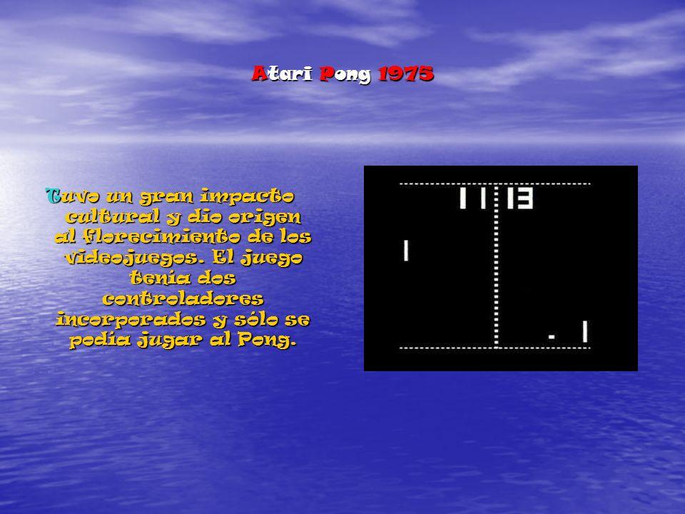 Atari Pong 1975 Tuvo un gran impacto cultural y dio origen al florecimiento de los videojuegos.