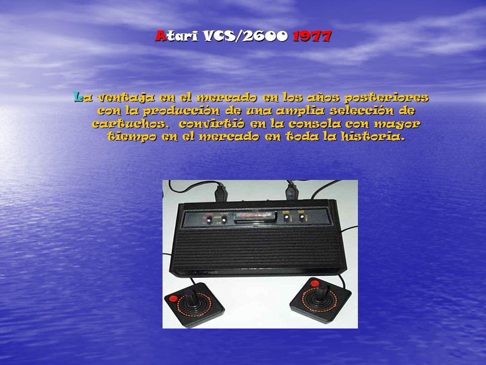 Atari VCS/2600 1977 La ventaja en el mercado en los años posteriores con la producción de una amplia selección de cartuchos, convirtió en la consola con mayor tiempo en el mercado en toda la historia.