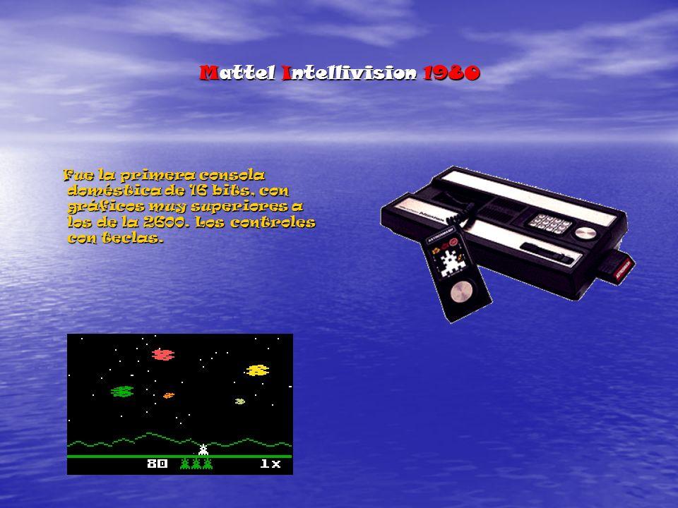 Mattel Intellivision 1980 Fue la primera consola doméstica de 16 bits, con gráficos muy superiores a los de la 2600.