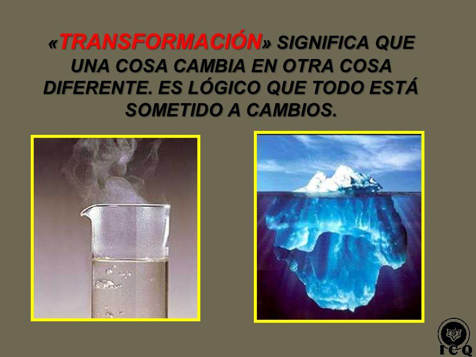« TRANSFORMACIÓN » SIGNIFICA QUE UNA COSA CAMBIA EN OTRA COSA DIFERENTE.