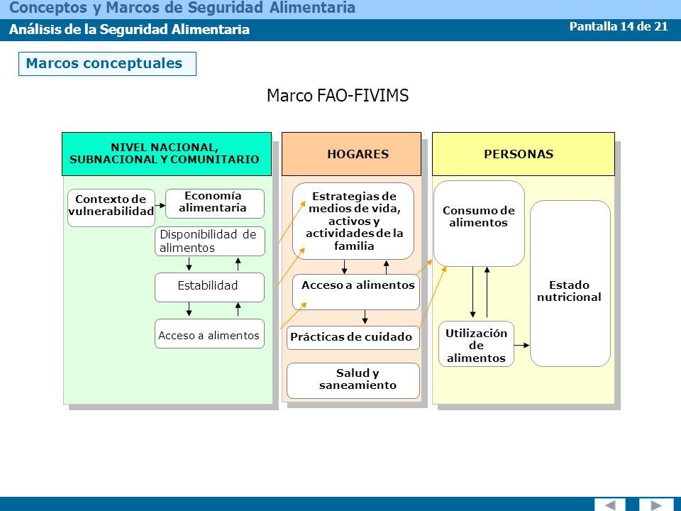Pantalla 14 de 21 Conceptos y Marcos de Seguridad Alimentaria Análisis de la Seguridad Alimentaria Marcos conceptuales Marco FAO-FIVIMS NIVEL NACIONAL