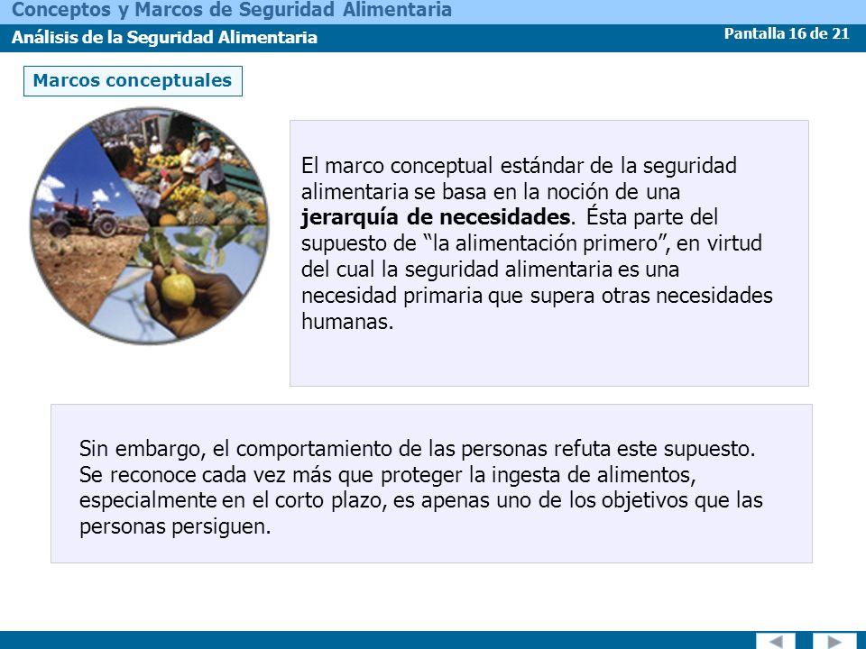 Pantalla 16 de 21 Conceptos y Marcos de Seguridad Alimentaria Análisis de la Seguridad Alimentaria El marco conceptual estándar de la seguridad alimen