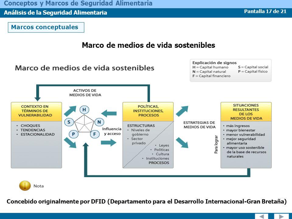 Pantalla 17 de 21 Conceptos y Marcos de Seguridad Alimentaria Análisis de la Seguridad Alimentaria Marcos conceptuales Marco de medios de vida sosteni