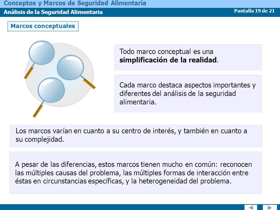 Pantalla 19 de 21 Conceptos y Marcos de Seguridad Alimentaria Análisis de la Seguridad Alimentaria Marcos conceptuales Todo marco conceptual es una si
