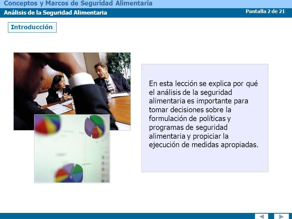 Pantalla 2 de 21 Conceptos y Marcos de Seguridad Alimentaria Análisis de la Seguridad Alimentaria Introducción En esta lección se explica por qué el a