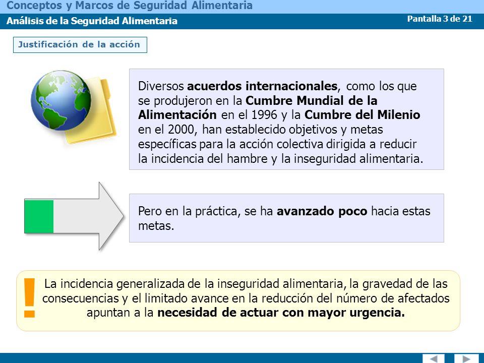 Pantalla 3 de 21 Conceptos y Marcos de Seguridad Alimentaria Análisis de la Seguridad Alimentaria Justificación de la acción La incidencia generalizad