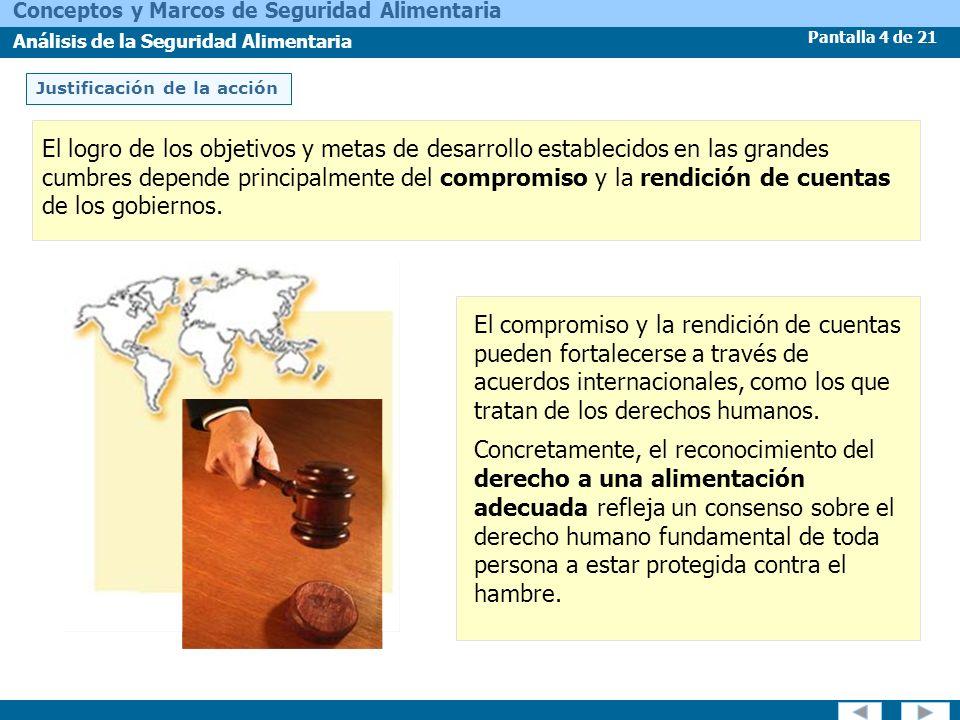 Pantalla 4 de 21 Conceptos y Marcos de Seguridad Alimentaria Análisis de la Seguridad Alimentaria Justificación de la acción El compromiso y la rendic